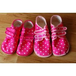 Beda barefoot růžové s hvězdami vycházkové tenisky různý lem