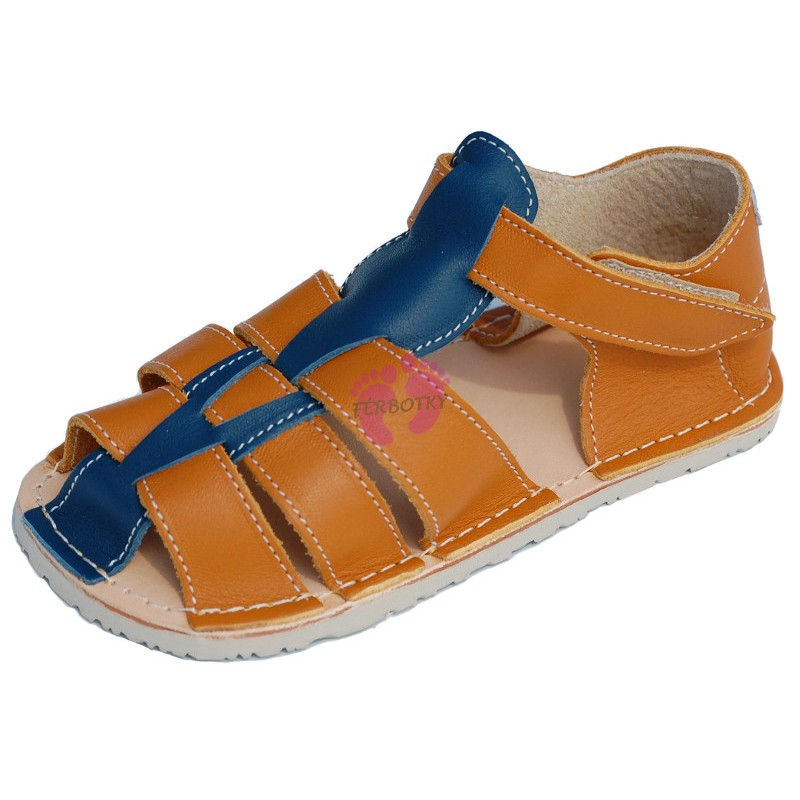 ZeaZoo Kids - Marlin Camel with Blue sandále