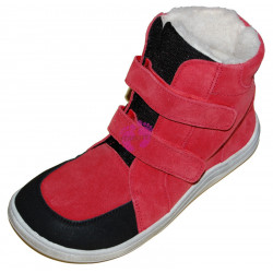 Baby Bare Shoes FEBO WINTER Red velour okop