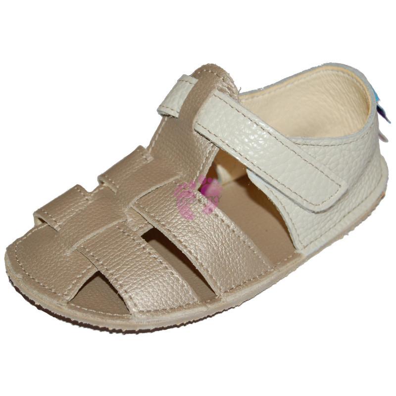 Baby Bare Shoes Gold - páskové sandále zlaté